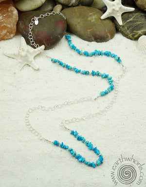 Turquoise Chip & Sterling Silver Chain Necklace