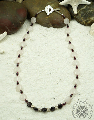 Rose Quartz, Garnet & Sterling Silver Necklace - EarthWhorls, LLC