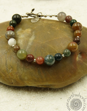 Fancy Jasper & Sterling Silver Bracelet - EarthWhorls, LLC