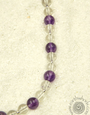Fluorite, Amethyst & Sterling Silver Necklace - EarthWhorls, LLC