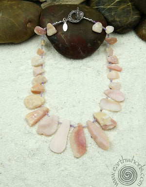 Raw Stone Opal, Agate & Sterling Silver necklace