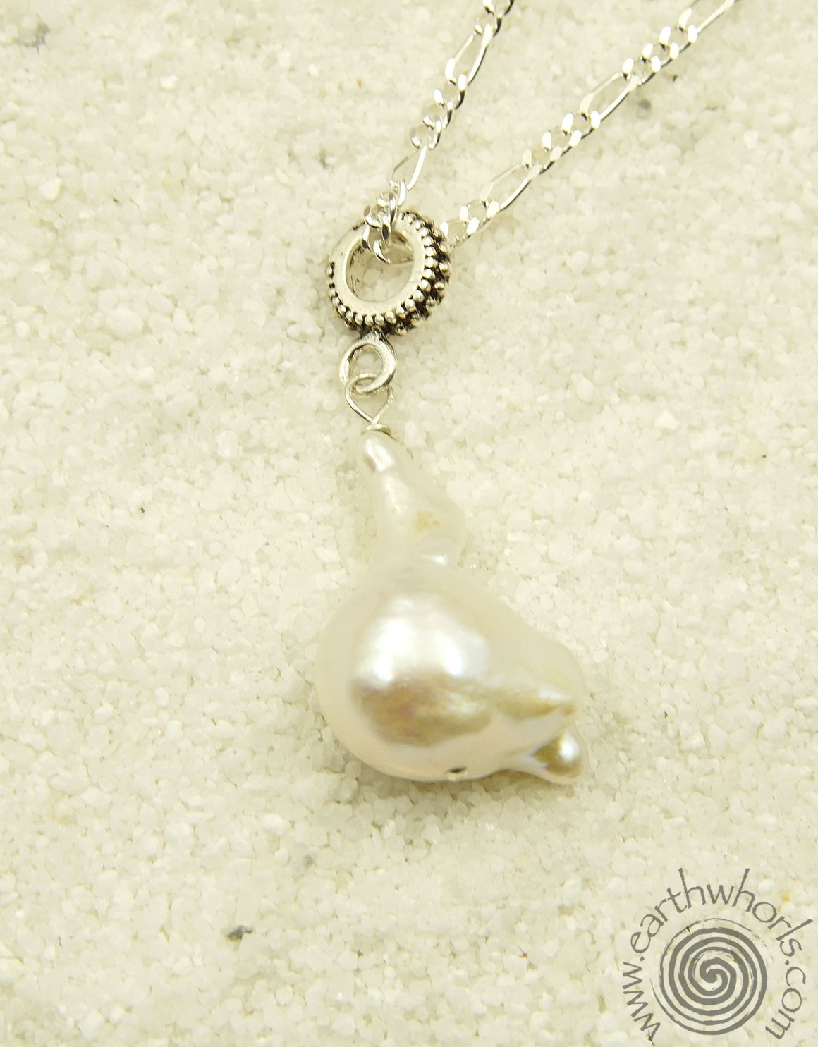 Fresh Water Pearl & Sterling Silver Pendant Necklace - EarthWhorls, LLC