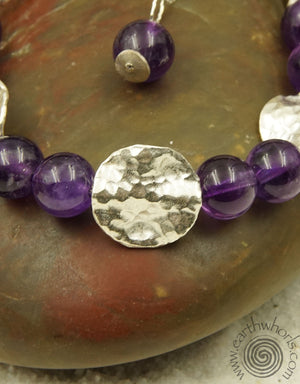 Amethyst & Sterling Silver Adjustable Bracelet - EarthWhorls, LLC