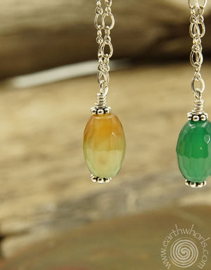 Agate & Sterling Silver Drop Earrings - EarthWhorls, LLC