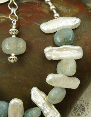 Aquamarine, Finger Pearl & Sterling Silver Bracelet - EarthWhorls, LLC