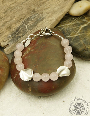 Rose Quartz & Sterling Silver Designer Bracelet - EarthWhorls, LLC