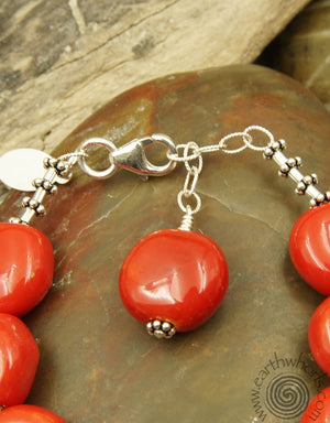African Clay Bead & Sterling Silver Bracelet - EarthWhorls, LLC