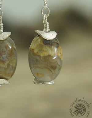 Chalcedony & Sterling Silver Natural Stone Earrings - EarthWhorls, LLC