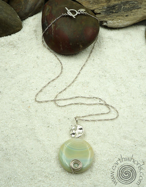 Green Agate & Sterling Silver Pendant Necklace - EarthWhorls, LLC
