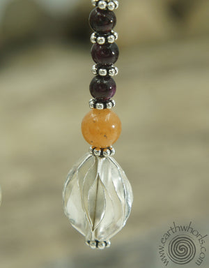 Garnet, Carnelian & Sterling Silver Earrings - EarthWhorls, LLC