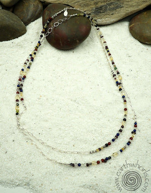 Mixed Stone & Sterling Silver Long Necklace - EarthWhorls, LLC