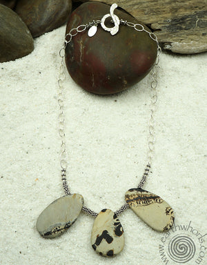 Mookaite, Natural Stone & Sterling Silver Necklace - EarthWhorls, LLC