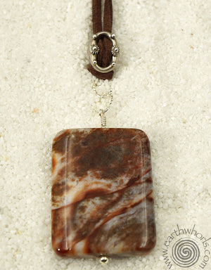 Agate, Vegan Leather & Sterling Silver Pendant Necklace - EarthWhorls, LLC