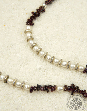 Garnet, Pearl, Sterling Silver Eyeglass Holder - EarthWhorls, LLC