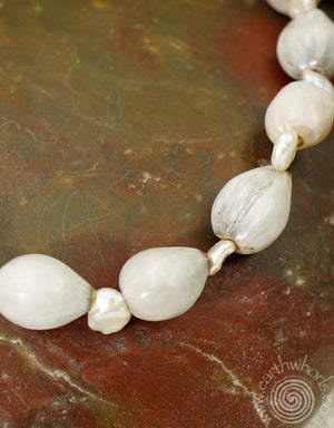 African Seed Pod, Fresh Water Pearls & Sterling Silver Bracelet - EarthWhorls, LLC