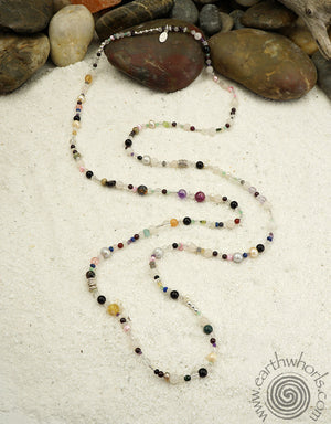 Mixed Stones, Sterling Silver Continuous Length Necklace - EarthWhorls, LLC