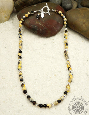 Botswana Agate, Natural Stone & Sterling Silver Necklace - EarthWhorls, LLC