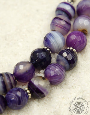 Purple Agate Gemstone & Sterling Silver Necklace