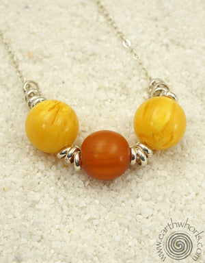African Amber & Sterling Silver Necklace - EarthWhorls, LLC