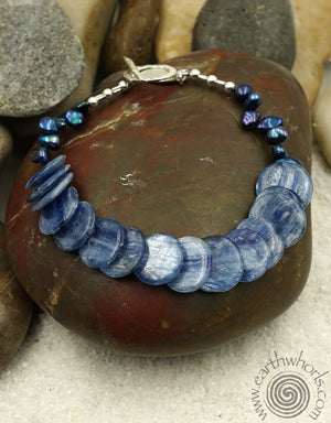 Blue Kyanite & Sterling Silver Natural Stone Bracelet - EarthWhorls, LLC