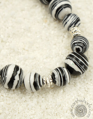Black & White Botswana Agate & Sterling Silver Natural Stone Necklace - EarthWhorls, LLC