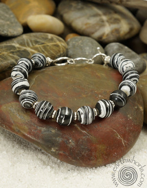Black & White Botswana Agate & Sterling Silver Bracelet - EarthWhorls, LLC