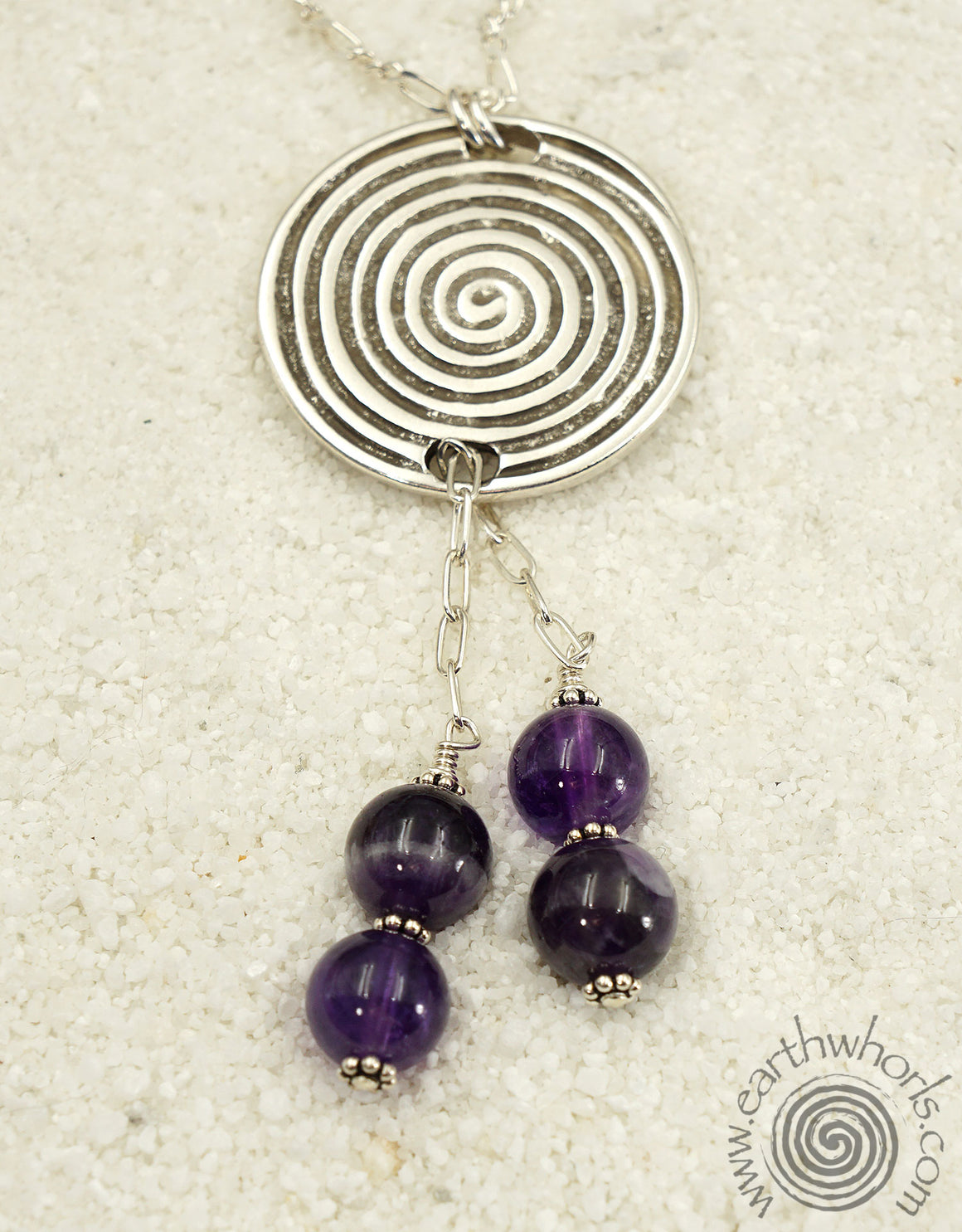 Sterling Silver, Handcrafted Metal & Amethyst Pendant Necklace