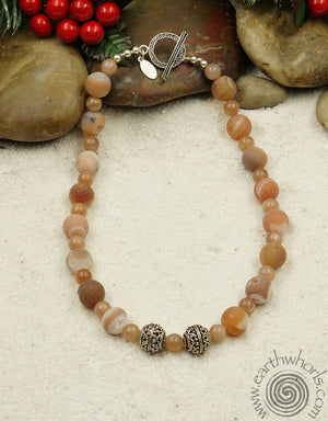 Druzy Agate & Sterling Silver Natural Stone Necklace - EarthWhorls, LLC