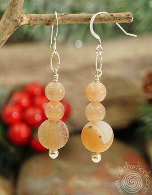 Druzy Agate & Sterling Silver Designer Earrings - EarthWhorls, LLC