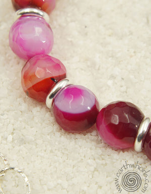 Rose Stripe Agate & Sterling Silver Fashion Favorite Necklace - EarthWhorls, LLC
