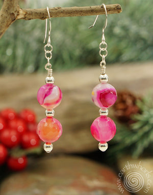 Rose Stripe Agate & Sterling Silver Double Drop Earrings