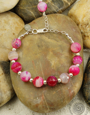 Rose Stripe Agate & Sterling Silver Adjustable Designer Bracelet - EarthWhorls, LLC