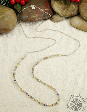 Mixed Stone & Sterling Silver Designer Necklace - EarthWhorls, LLC