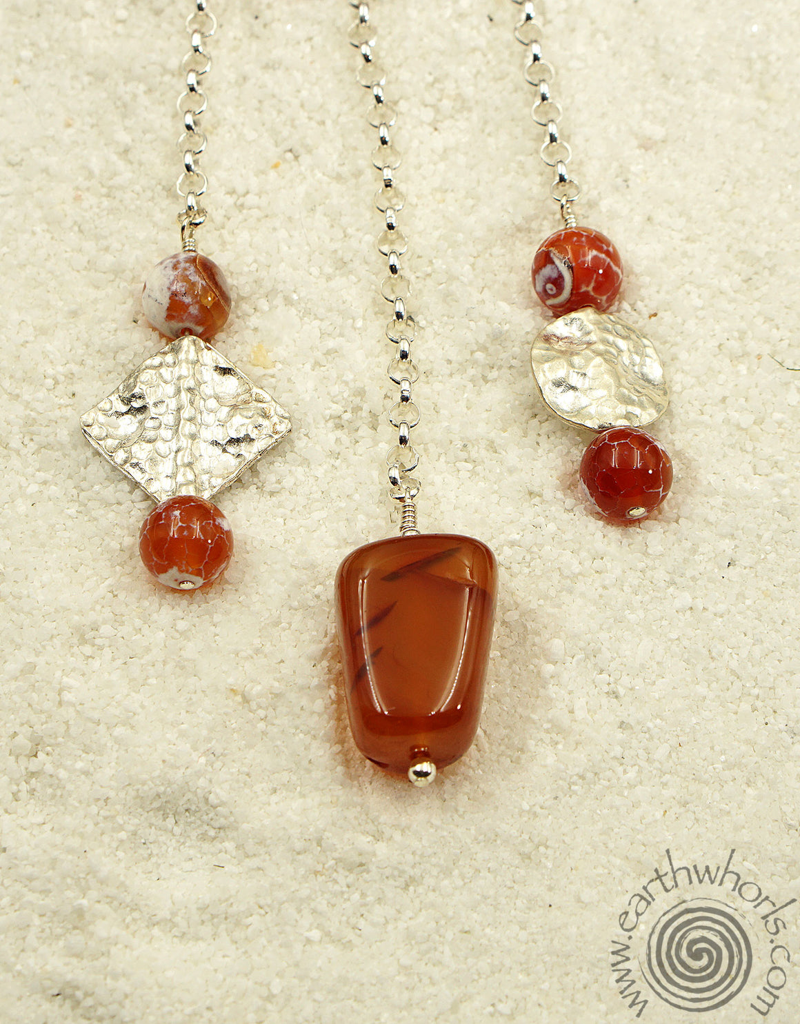 Fire Agate & Sterling Silver Multi Pendant Design Necklace - EarthWhorls, LLC