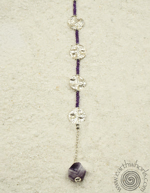 Amethyst & Sterling Silver Designer Necklace - EarthWhorls, LLC