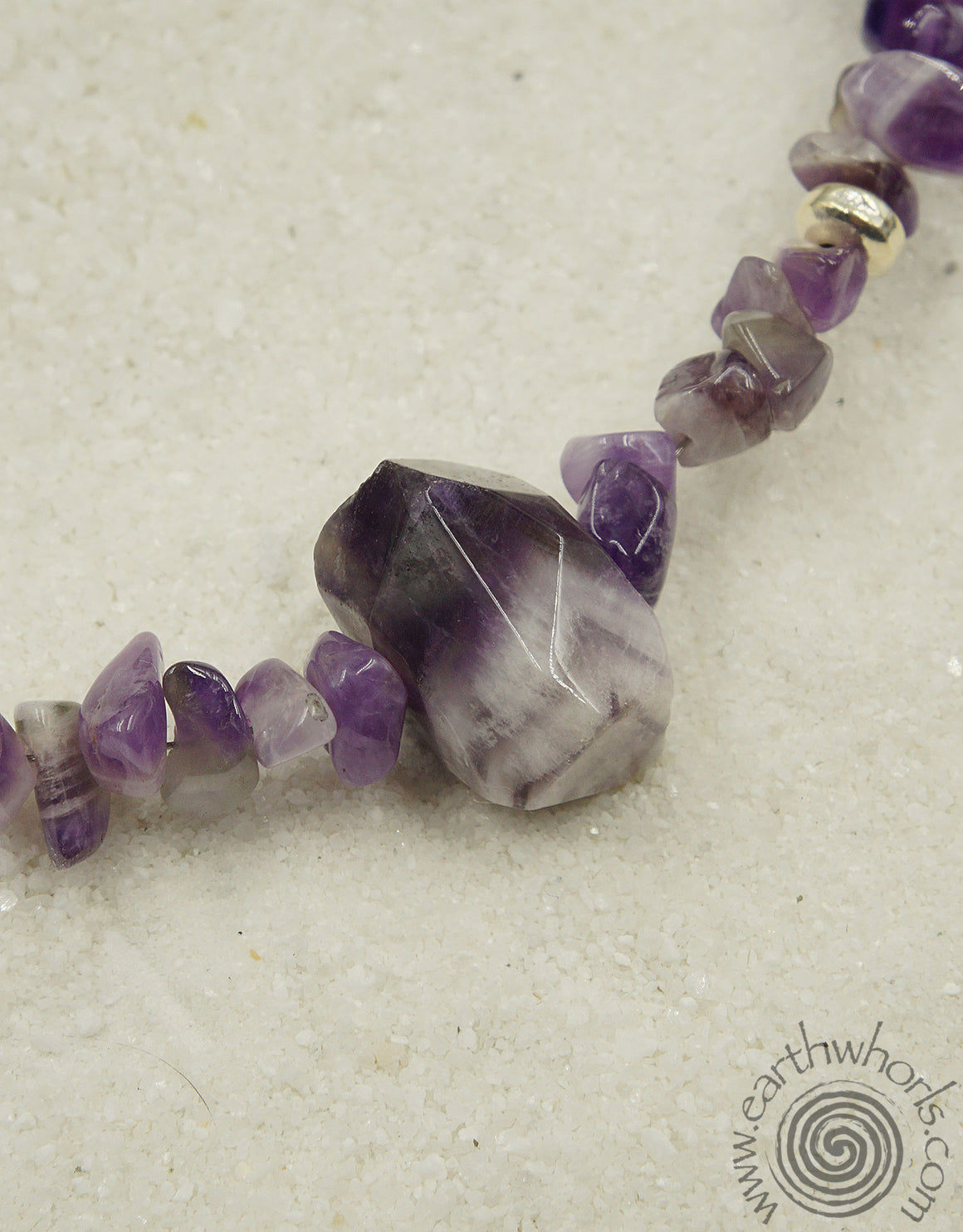 Amethyst & Sterling Silver Choker Necklace - EarthWhorls, LLC