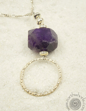 Amethyst & Sterling Silver FashionEyes Necklace - EarthWhorls, LLC