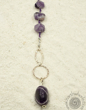 Amethyst & Sterling Silver FashionEyes Necklace with Removable Charm - EarthWhorls, LLC