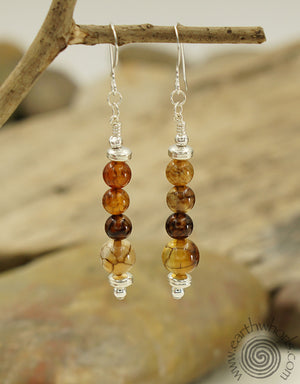 Picasso Jasper & Sterling Silver Earrings - EarthWhorls, LLC