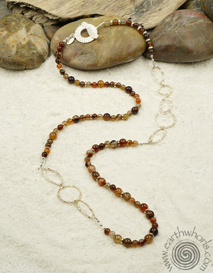 "Picasso ""Spiderweb"" Jasper & Sterling Silver Necklace"