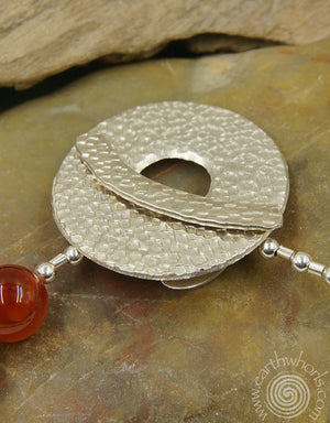 Carnelian & Sterling Silver Fine Fashion Necklace - EarthWhorls, LLC