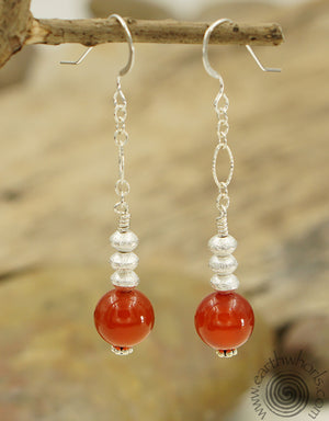 Carnelian & Sterling Silver Drop Earrings - EarthWhorls, LLC