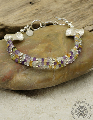 Three Strand Mixed Stone & Sterling Silver Bracelet