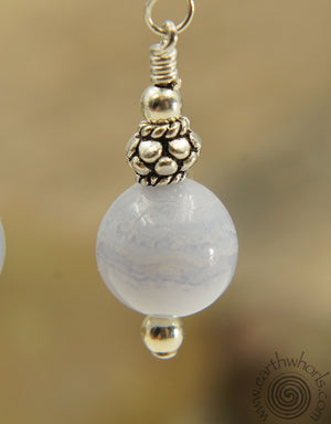 Blue Agate & Sterling Silver Drop Earrings - EarthWhorls, LLC