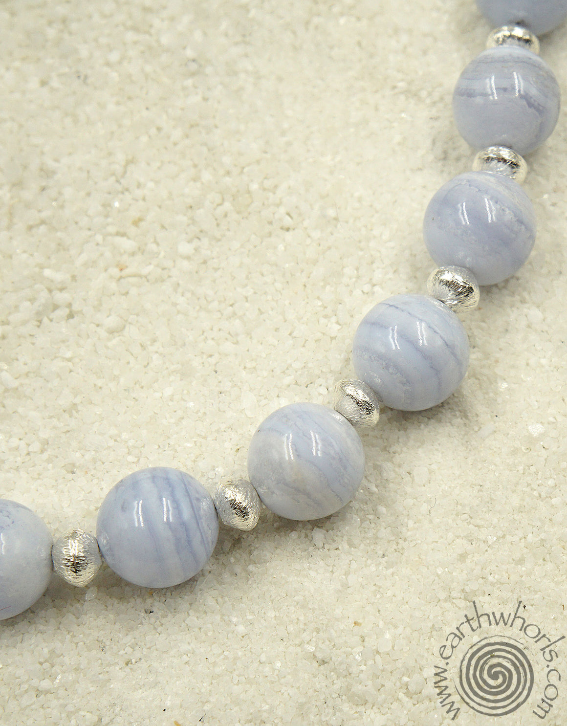 Blue Agate & Sterling Silver Designer Necklace - EarthWhorls, LLC
