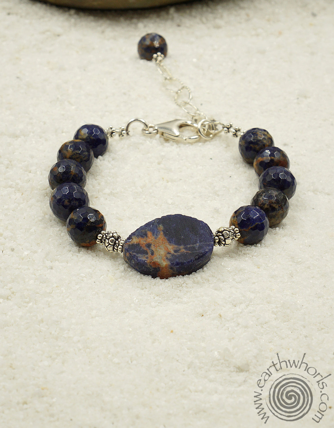 Orange Sodalite & Sterling Silver Fine Fashion Bracelet - EarthWhorls, LLC