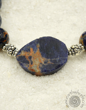 Orange Sodalite & Sterling Silver Fine Fashion Bracelet