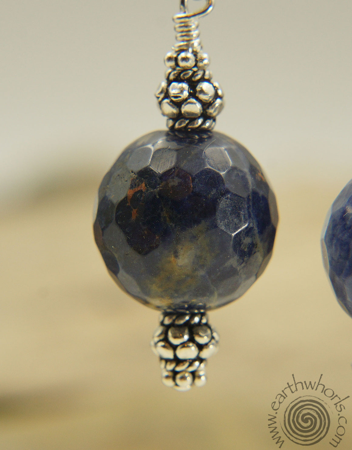 Orange Sodalite & Sterling Silver Drop Earrings
