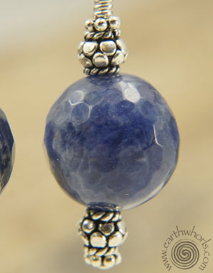 Orange Sodalite & Sterling Silver Drop Earrings - EarthWhorls, LLC