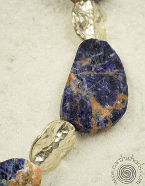 Orange Sodalite & Sterling Silver Choker Necklace - EarthWhorls, LLC